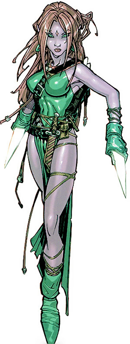 Blink of the Exiles (Marvel Comics) with slivers in her hands