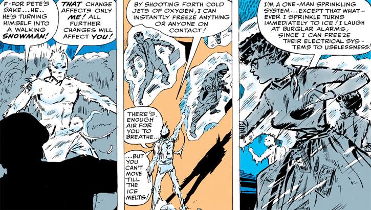 Jack Frost (Shapanka) (Marvel Comics) uses his ice jet