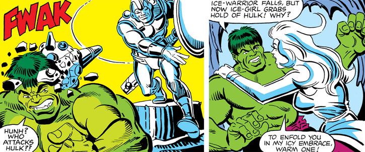 Two of Jack Frost's ice statues (Marvel Comics) vs. the Hulk