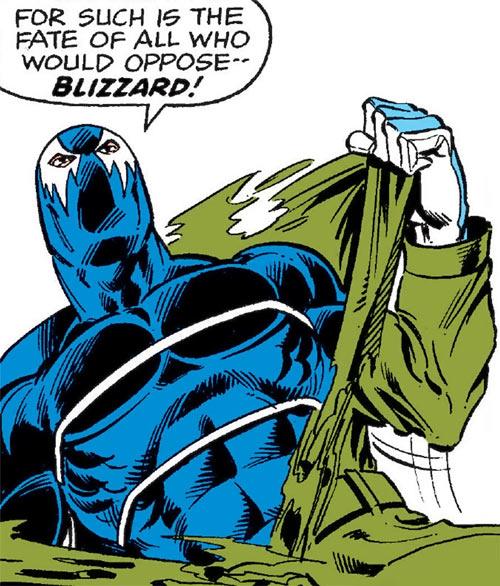 Blizzard (Shapanka) (Iron Man enemy) tearing his coat off