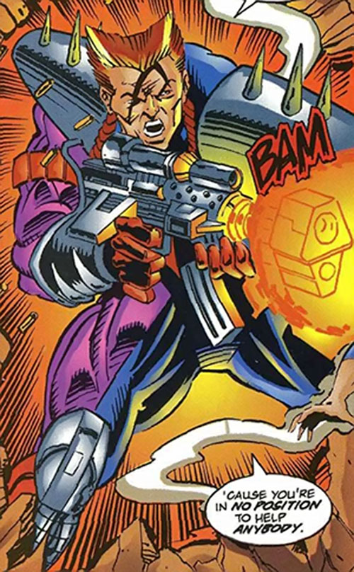 Bloodbath (Ultraverse Comics) (Exiles enemy) shooting a gun