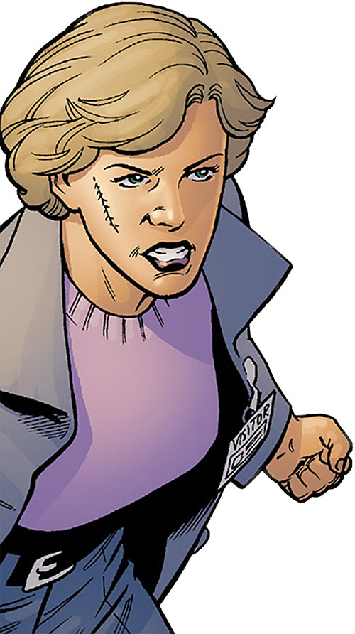 Agent Saffron Bell (Bloodhound comics) with a scar