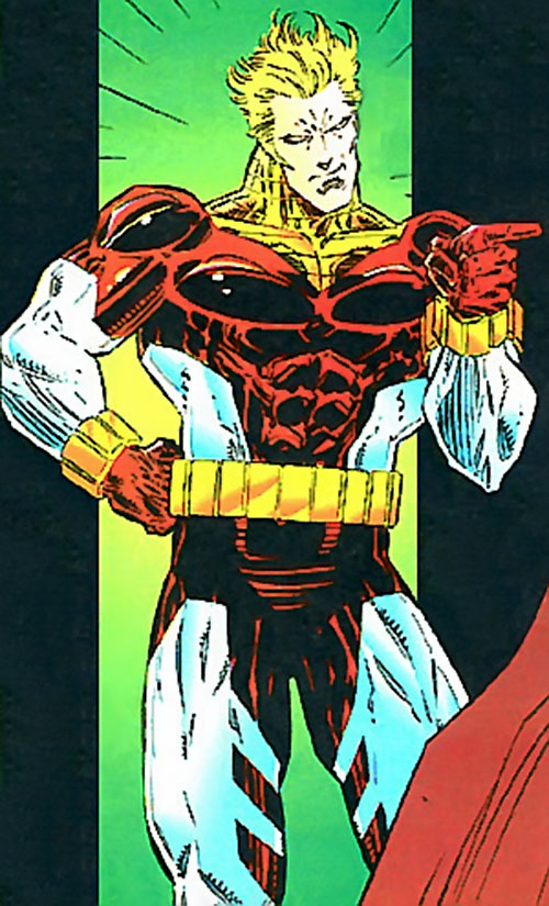 Bloodmoney (Manhunter enemy) (DC Comics) pointing his finger