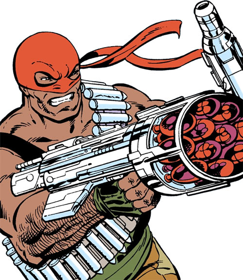 Bloodsport (Dubois) (Superman enemy) (DC Comics) aiming a hi-tech rocket launcher