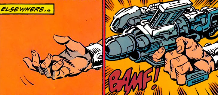 Bloodsport (Alex Trent) teleports a gun to his hand