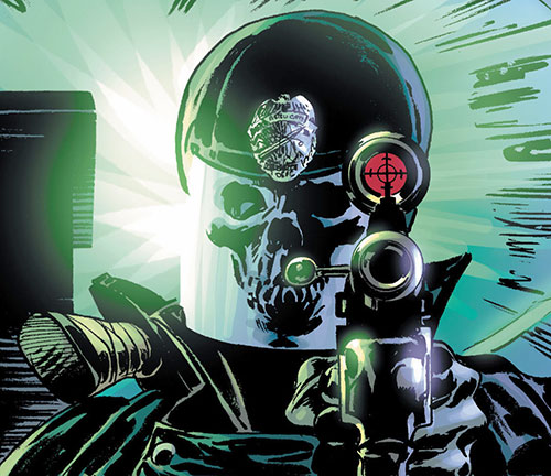 Blue Knight (Astro City) (Image Comics) helmet and pistol closeup