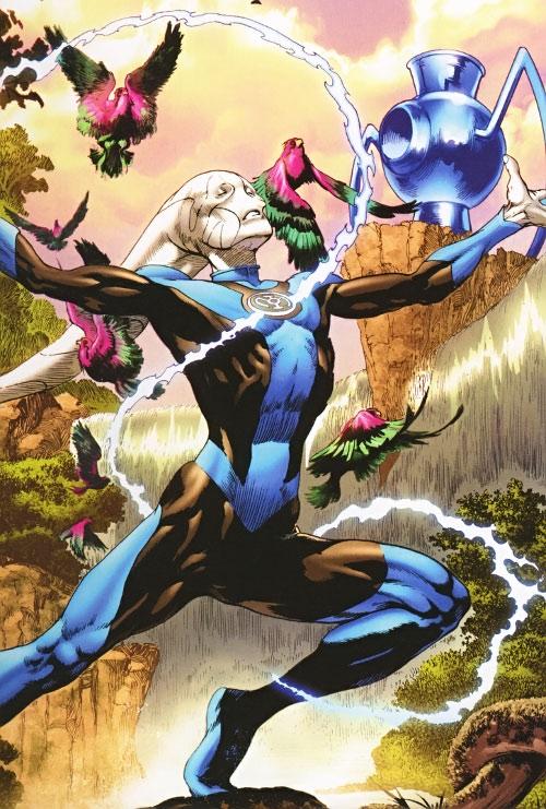 Saint Walker and the blue power battery (Green Lantern DC Comics)