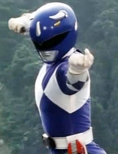 Blue Ranger (Billy) of the Mighty Morphin' Power Rangers (Early) karate pose