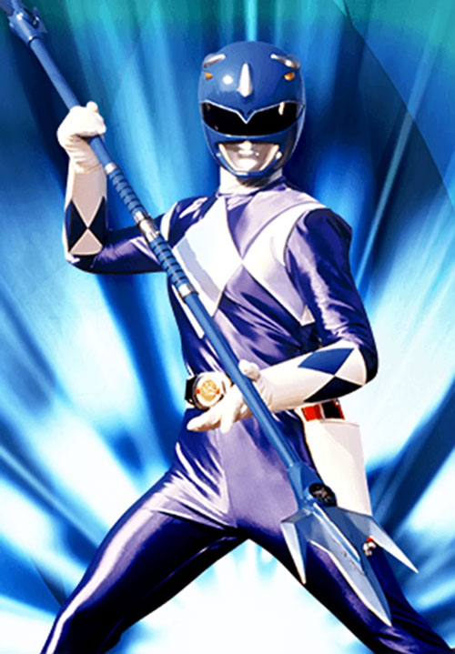 Blue Ranger (Billy) of the Mighty Morphin' Power Rangers (Early) posing with spear