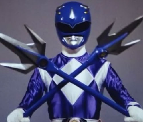 Blue Ranger (Billy) of the Mighty Morphin' Power Rangers (Early) crossed spears