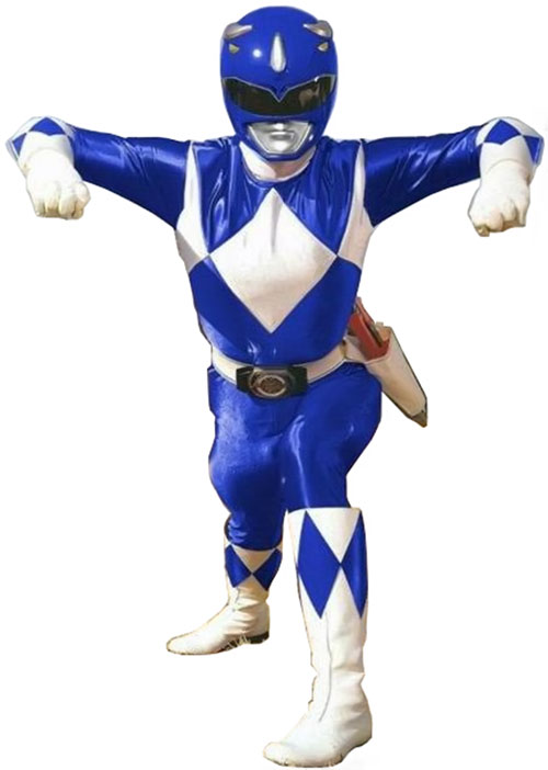 Blue Ranger (Billy) of the Mighty Morphin' Power Rangers (Early) weird pose
