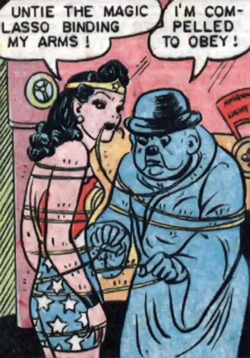 Blue Snowman (Wonder Woman enemy) (DC Comics) untying Wonder Woman