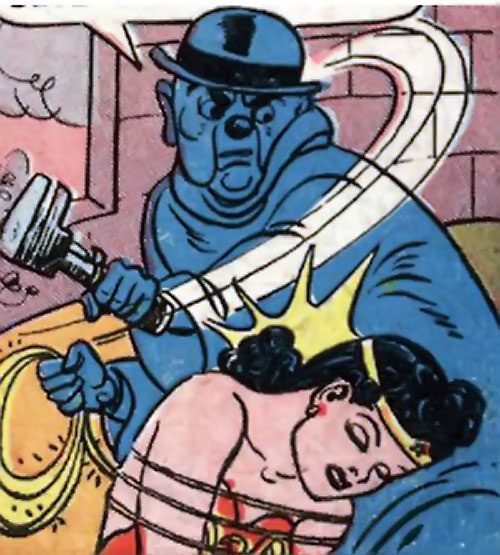 Blue Snowman (Wonder Woman enemy) (DC Comics) knocks WW out with a wrench