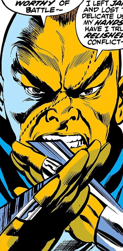 Blue Talon (Daredevil enemy) (Marvel Comics) face and blades closeup