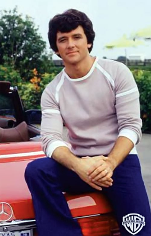 Bobby Ewing (Patrick Duffy in Dallas) and a red Mercedes