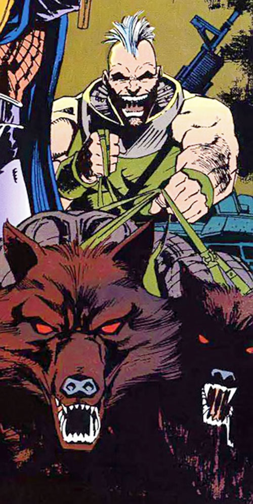 Bonebreaker of the Reavers (X-Men enemy) (Marvel comics) with hunting dogs