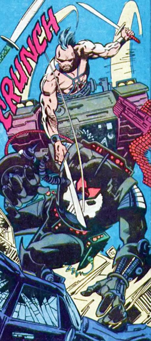 Bonebreaker of the Reavers (X-Men enemy) (Marvel comics) attacking with swords