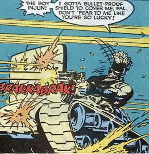 Bonebreaker of the Reavers (X-Men enemy) (Marvel comics) using his shield