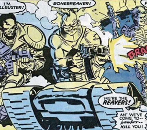 Bonebreaker of the Reavers (X-Men enemy) (Marvel comics) shooting an assault rifle