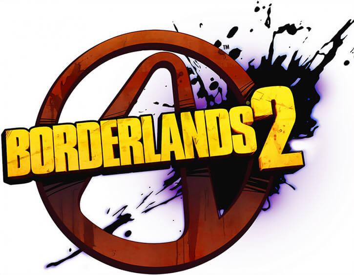 Borderlands 2 video game logo violet splash