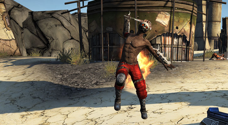 Borderlands - burning psycho bandit attacking