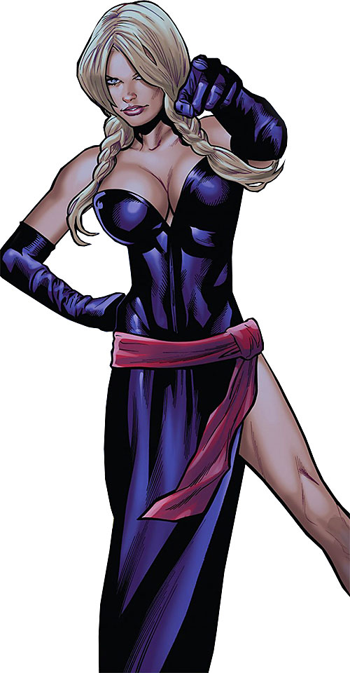 Bouncing Betty (X-Men enemy) (Marvel Comics) in a deep purple gown