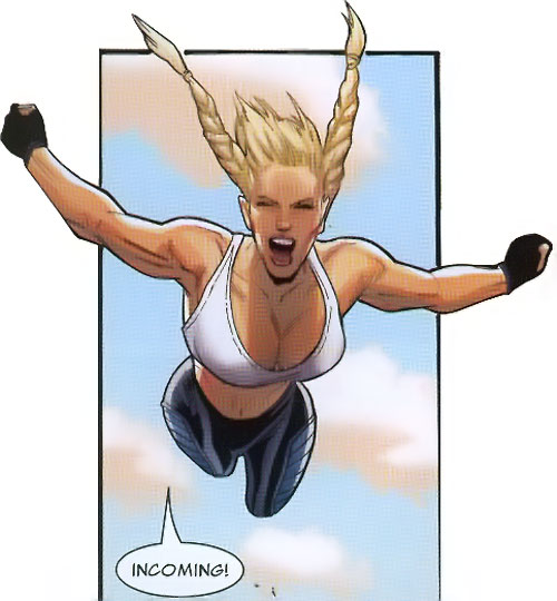 Bouncing Betty (X-Men enemy) (Marvel Comics) in mid-air