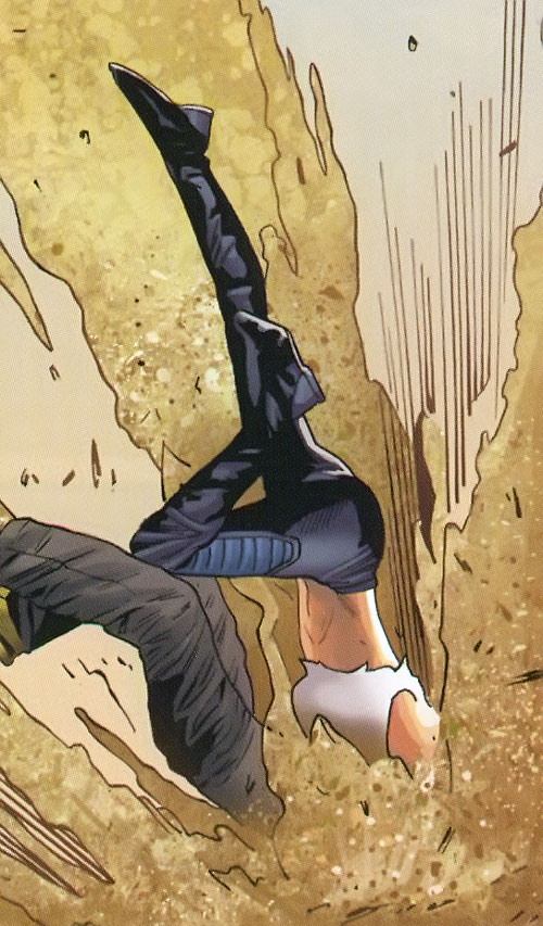 Bouncing Betty (X-Men enemy) (Marvel Comics) ramming somebody into sand