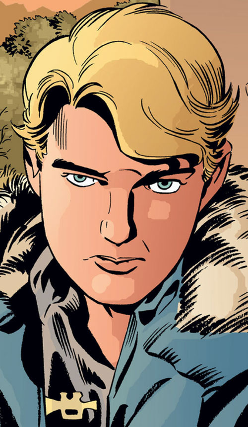Boy Blue of the Fables (DC Comics) in a blue parka