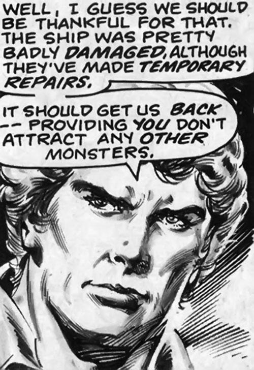 Brad Carter (Bloodstone ally) (Marvel Comics) B&W face closeup