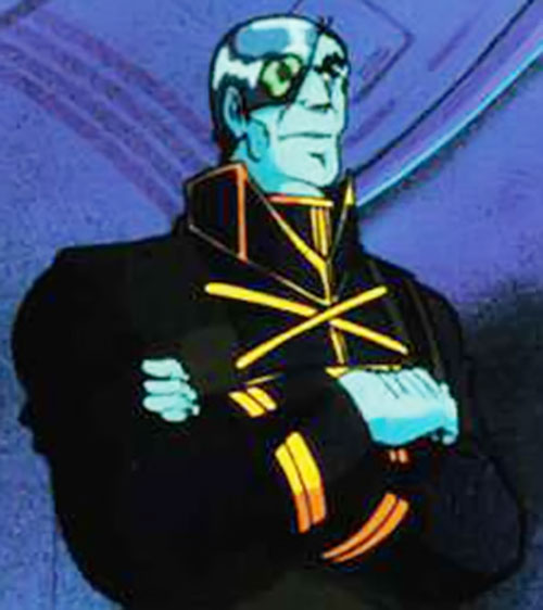Breetai of the Zentraedi (Robotech) in a black uniform