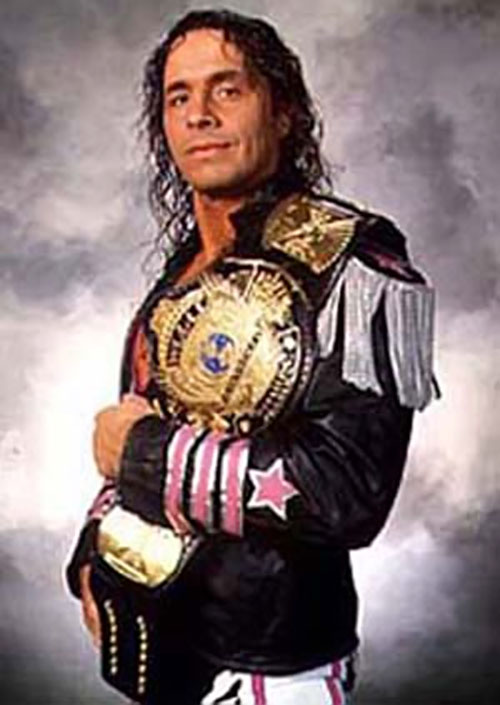 "Bret ""the Hitman"" Hart with a trophy"