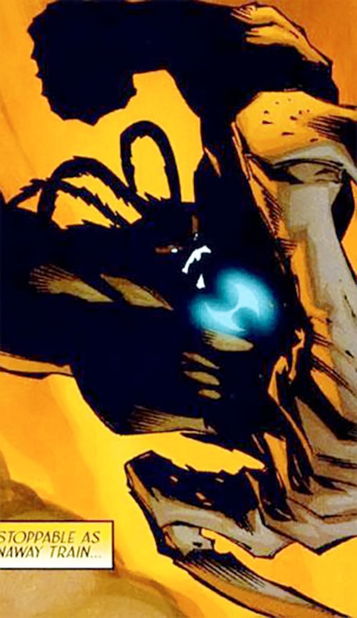 Brevus (Crossgen Negation comics) leaping in with his chest symbol glowing