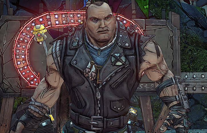 Brick in Borderlands 2 with his Slab King leather vest