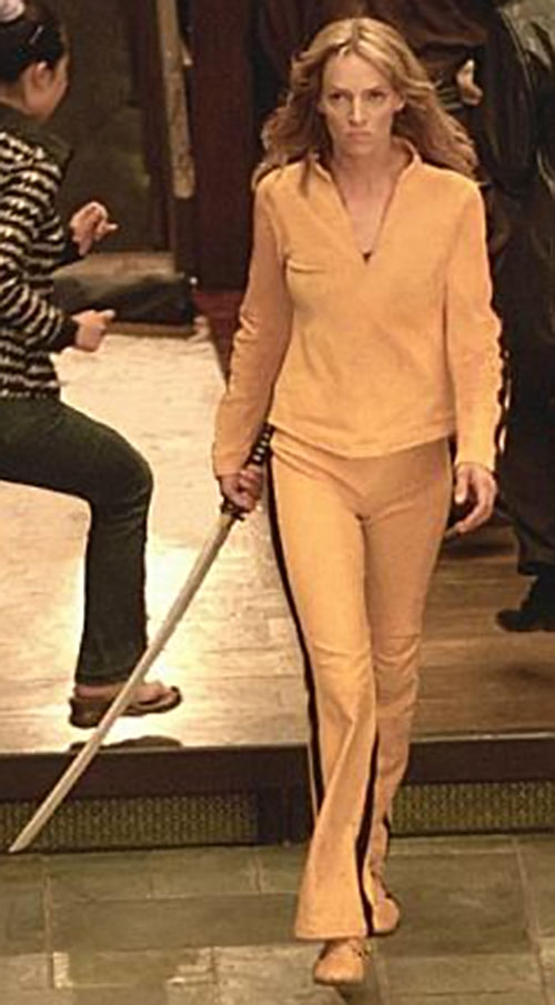 The Bride (Beatrix Kiddo) (Uma Thurman) (Kill Bill) in a yellow track suit with a katana