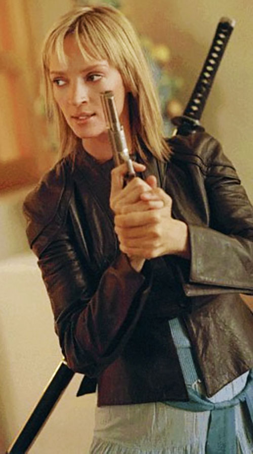 The Bride (Beatrix Kiddo) (Uma Thurman) (Kill Bill) in a leather jacket with sword and pistol