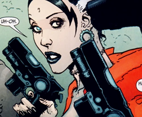 The Bride of Frankenstein (7 Soldiers) (DC Comics) face closeup with pistols