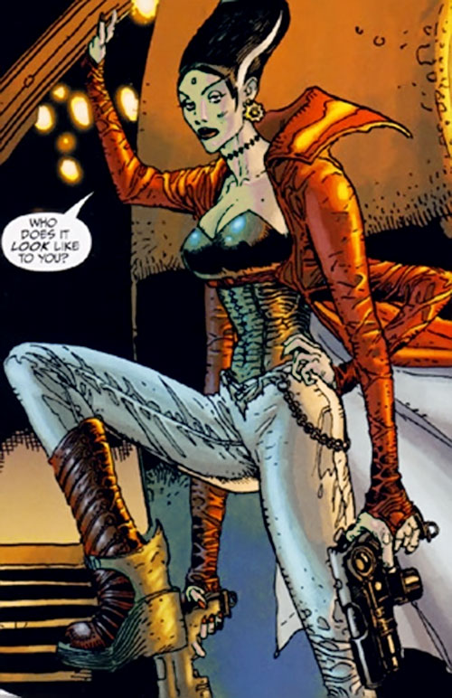 The Bride of Frankenstein (7 Soldiers) (DC Comics) with giant boots and gray jeans