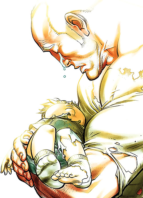 Brit (Image Comics Kirkman) holding a baby and crying