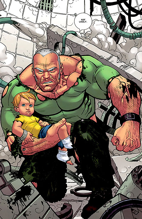 Brit (Image Comics Kirkman) protecting a baby in wreckage