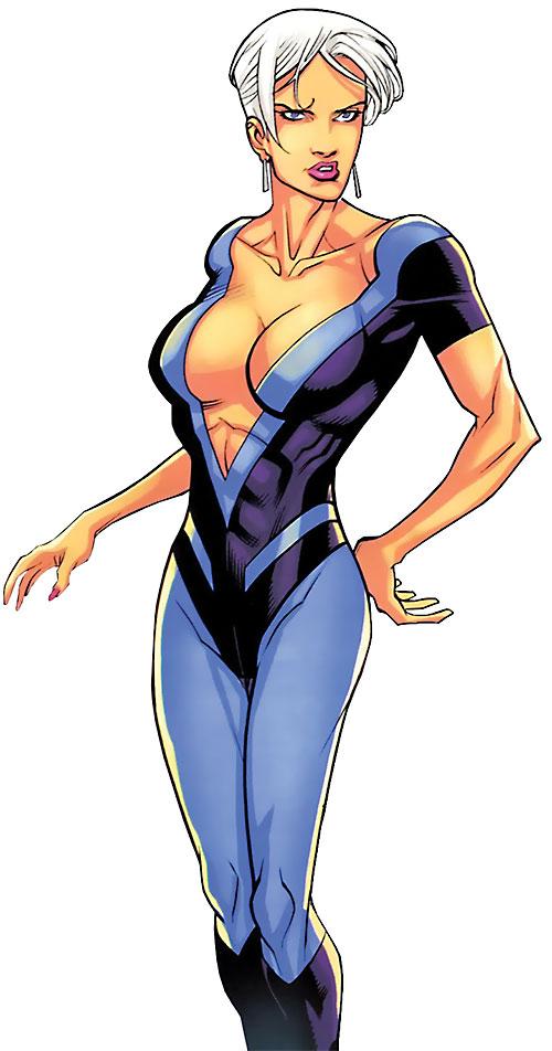 Britney (Brit / Invincible Image Comics Kirkman) blue jumpsuit plunging neckline