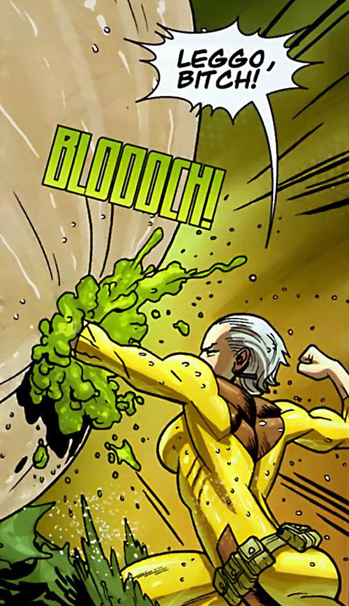 Britney (Brit / Invincible Image Comics Kirkman) punching an alien membrane