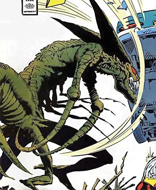 Brood Mutants (X-Men enemies) (Marvel Comics) Brickbat throws a car