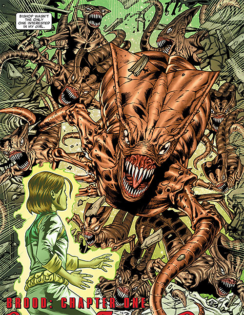 Brood aliens (X-Men enemies) (Marvel Comics) horde attacking Hope