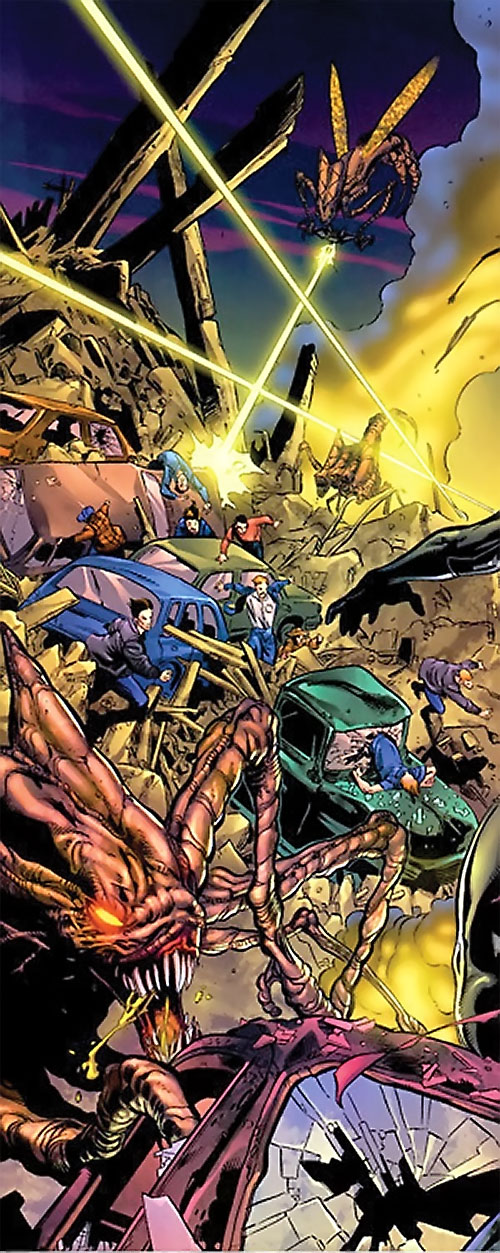 Brood aliens (X-Men enemies) (Marvel Comics) soldiers attacking humans