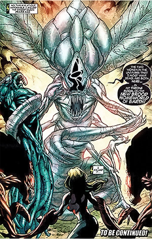 Brood aliens (X-Men enemies) (Marvel Comics) queen in crystalline state