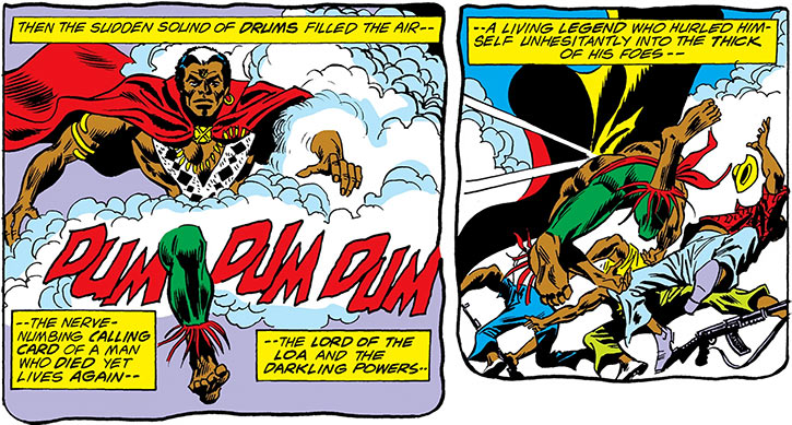 Brother Voodoo (Marvel Comics) making his patented magic drums entrance