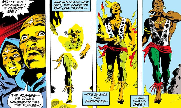 Brother Voodoo (Marvel Comics) walks through flames