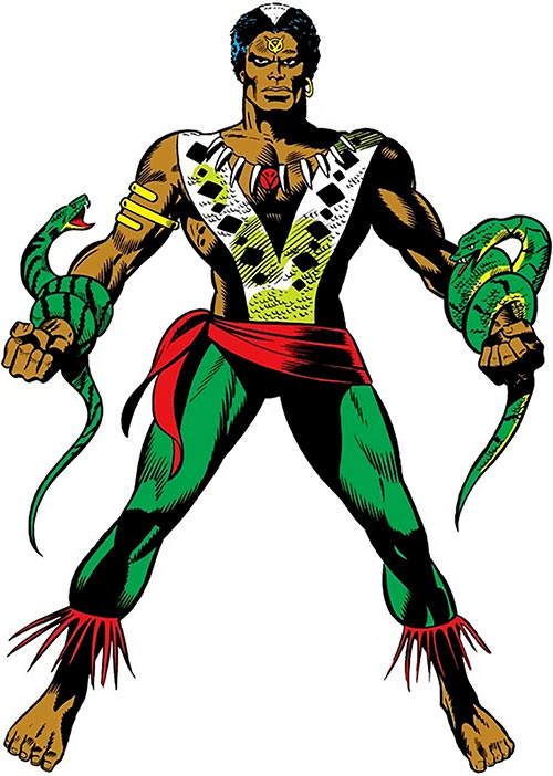 Brother Voodoo (Marvel Comics) holding two snakes