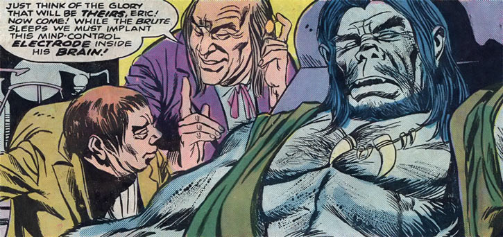The Brute (Atlas / Seaboard comics) unconscious next to a mad scientist